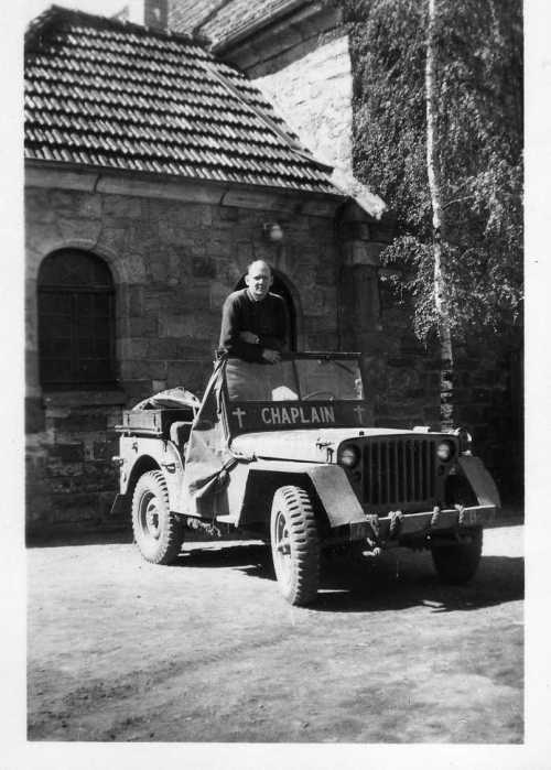 Frank Arnold in his chaplain's jeep