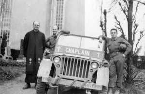"Chaplain Frank M. Arnold, left, with his ""peep."" Not sure who the other two are."