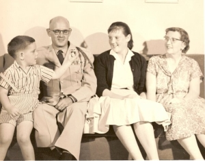 About a decade after World War II, Chaplain Frank M. Arnold II is shown with son Frankie, daughter Jean and wife Florence, right.