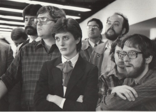 That's me at the right, learning with Des Moines Register colleagues in 1985 that the company was being sold to Gannett.