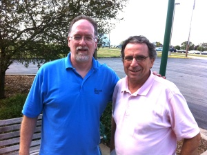 Chuck Offenburger and me in 2011. Neither of us has aged any since. In fact, I look younger without that white beard.