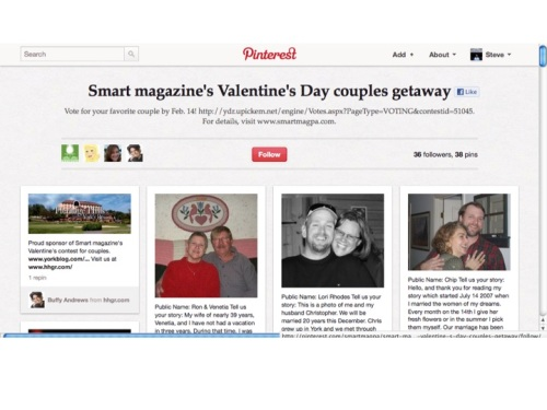 York Daily Record Valentine's contest on Pinterest