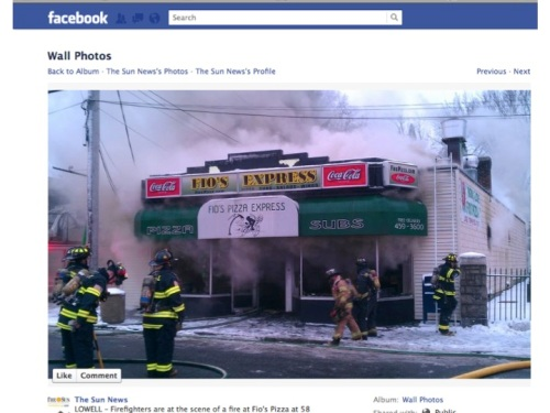Lowell Sun Facebook post on pizza place fire