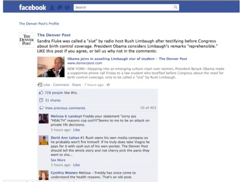 Rush Limbaugh/Sandra Fluke update on Denver Post Facebook
