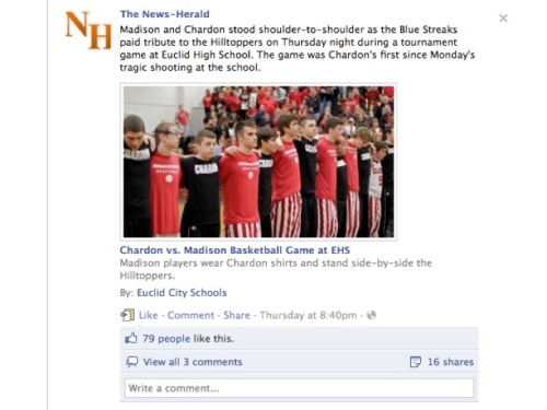 News-Herald Facebook photo about Chardon High School basketball game