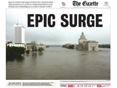 The Gazette's double-truck front page from June 13, 2008