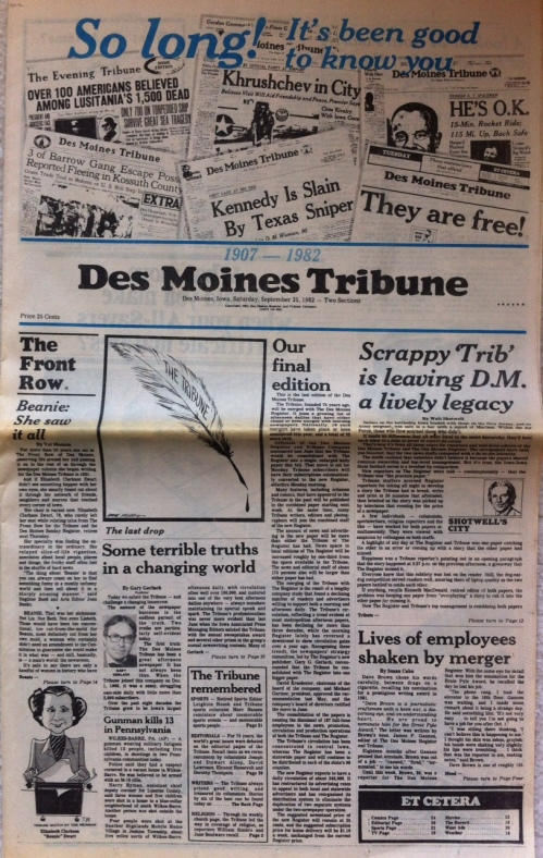 Des Moines Tribune final edition