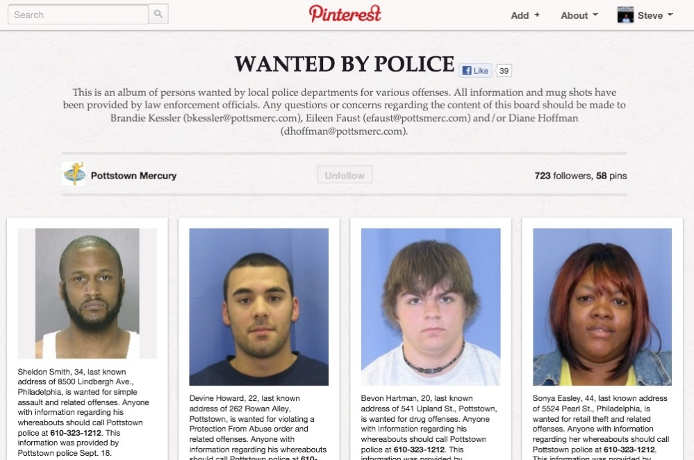 Pottstown Mercury's wanted-poster-style Pinboard is resulting in arrests (1/2)