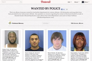 "The ""wanted by police"" Pinboard Brandie Kessler developed when she was at the Pottstown Mercury."