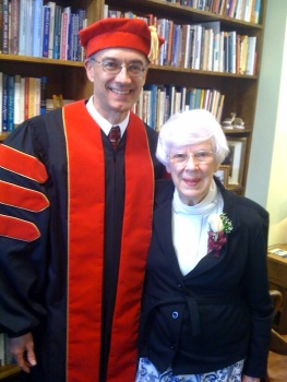 Dan posing with our mother, Harriet Buttry, before receiving his honorary doctoral degree from Central Baptist Theological Seminary.