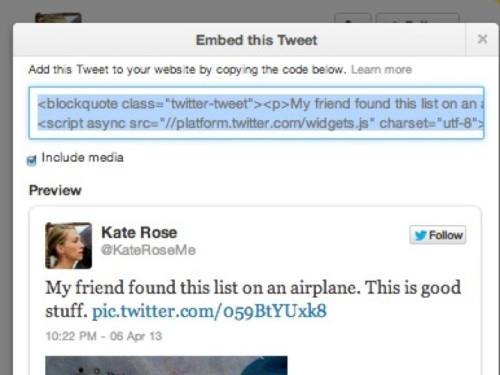 The embed code allows you to embed a tweet in a story as I did with this tweet earlier in this post.