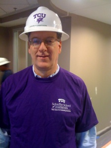 I toured construction of new facilities at the Schieffer School (with John Lumpkin's hard hat) in a 2009 visit.