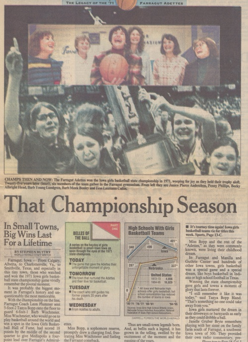 Video helped tell the story of the 1971 Farragut state championship, but I couldn't use the video in this 1996 story.