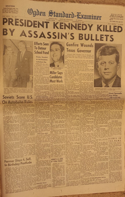 Ogden Standard Examiner front page Nov. 22, 1963, Kennedy assassination