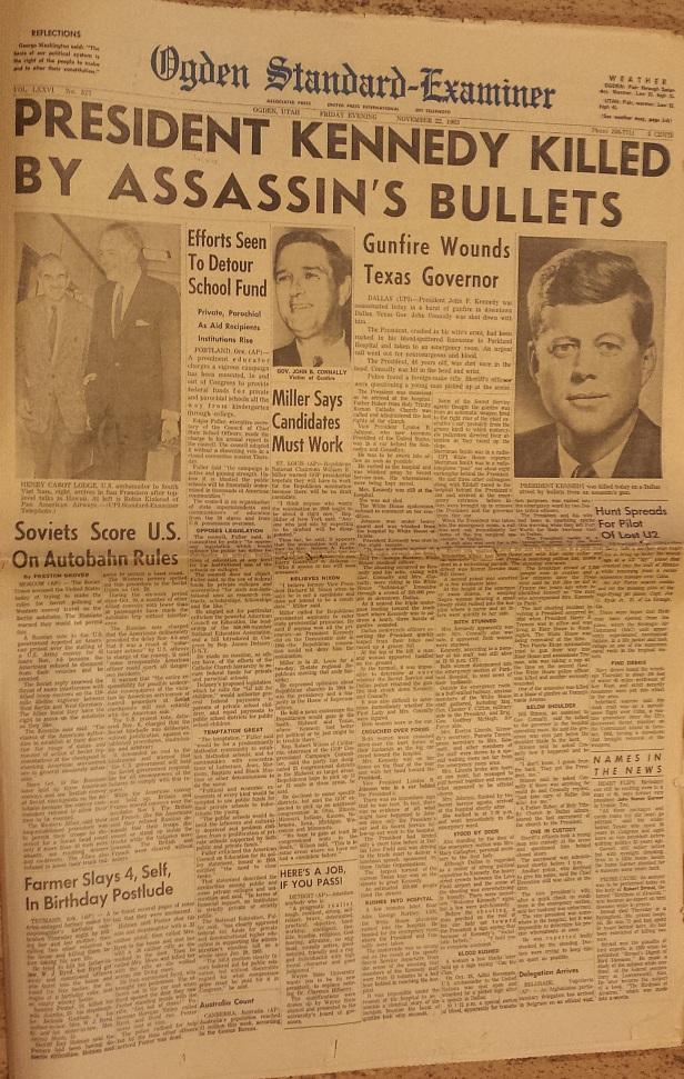 Ogden Standard Examiner front page Nov. 22, 1963, Kennedy assassination