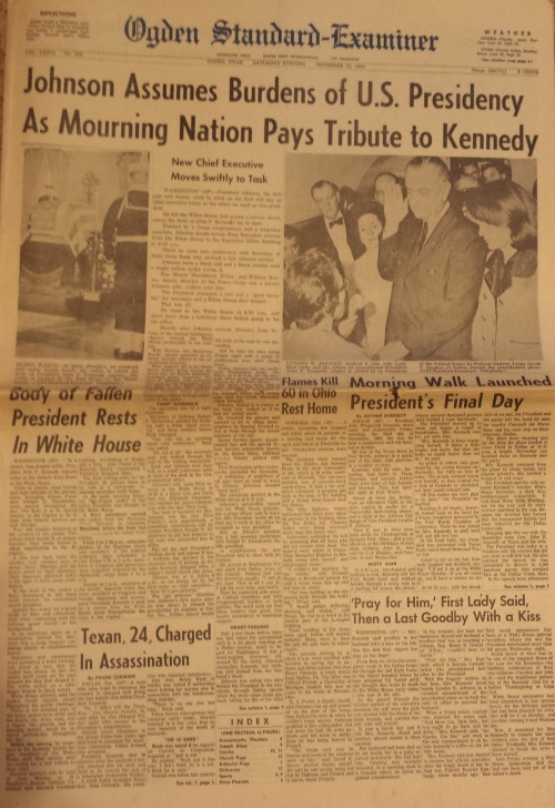 Nov. 23, 1963 Ogden Standard-Examiner, Lyndon B. Johnson being sworn in