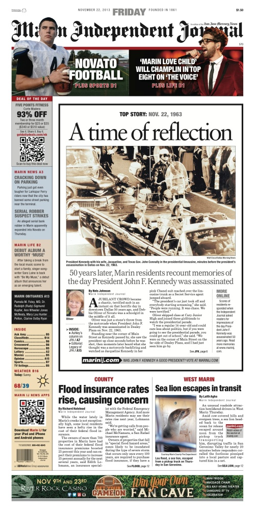Marin Independent Journal front page, Nov. 22, 2013