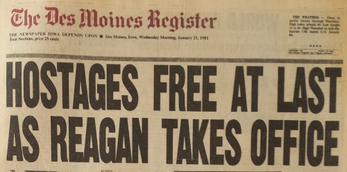 Des Moines Register headline, Jan. 21, 1981