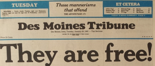 Des Moines Tribune front page top, Jan. 20, 1981
