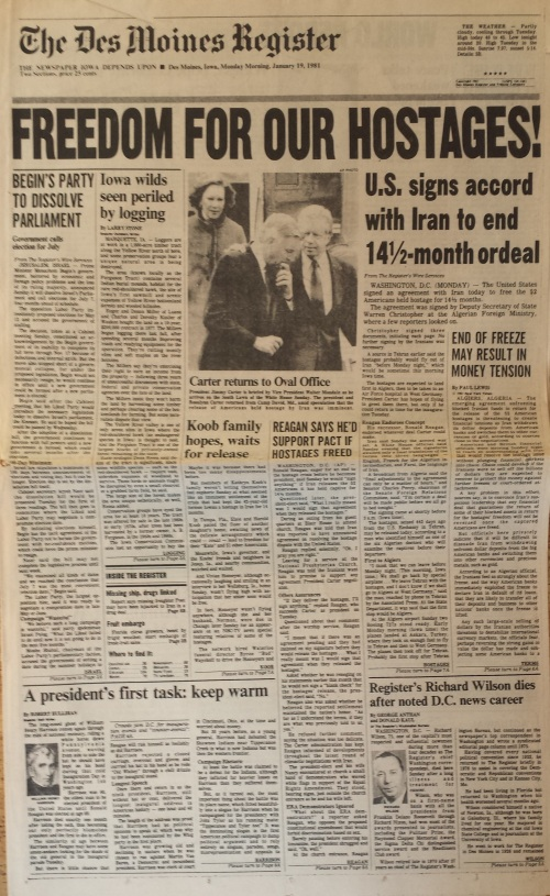 Des Moines Register front page, Jan. 19, 1981