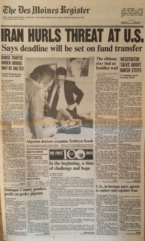 Des Moines Register front page, Jan. 20, 1981