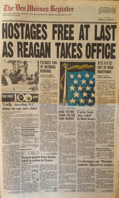 Des Moines Register front page, Jan. 21, 1981