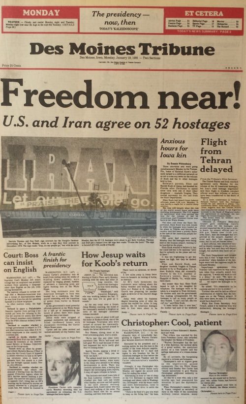 Des Moines Tribune front page, Jan. 19, 1981