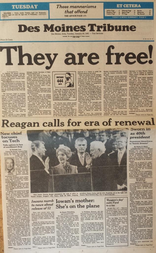 Des Moines Tribune front page, Jan. 20, 1981