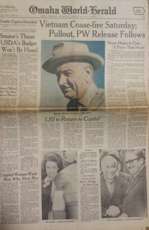 Omaha World-Herald front page, Jan. 24, 1973