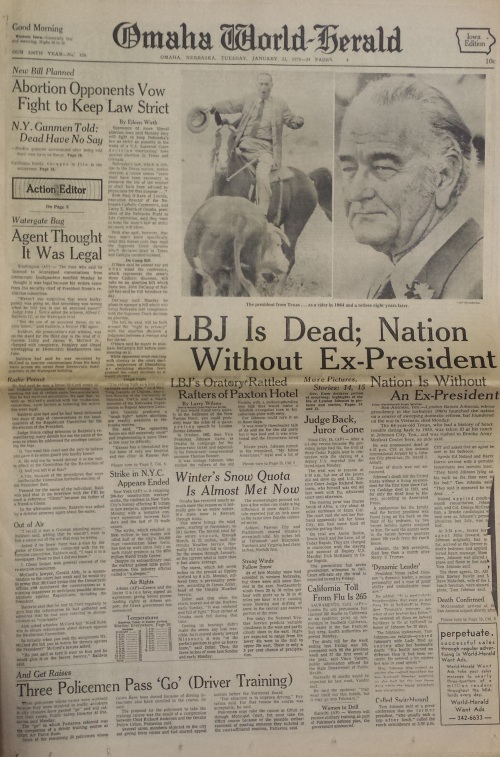 Omaha World-Herald front page, Jan. 23, 1973