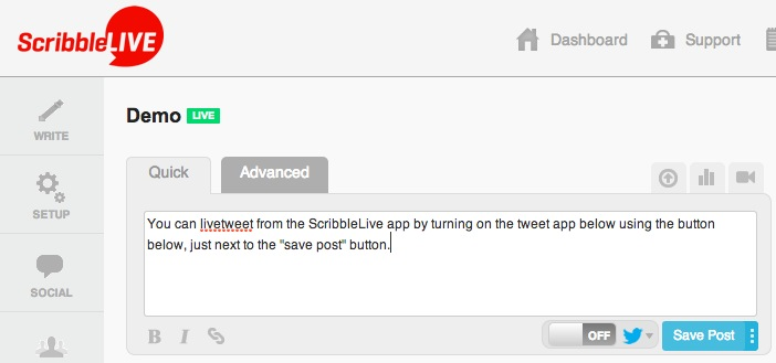 Using ScribbleLive, you can livetweet except for the longer posts ...
