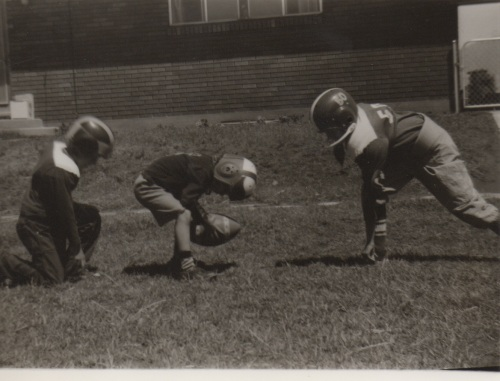 The Buttry boys playing football in our back yard, a few years before the first Super Bowl. I'm the quarterback.