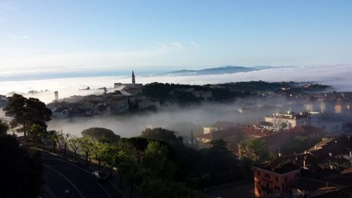 A foggy morning in the valley gives a beautiful view from our hilltop setting in Perugia.