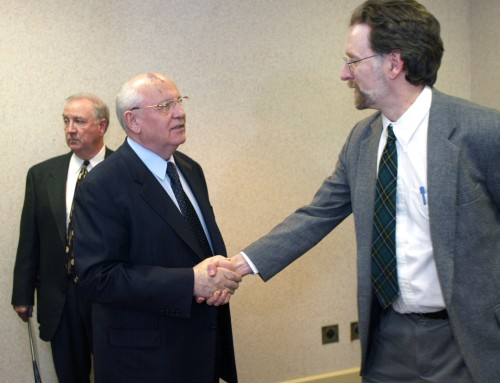 Mikhail Gorbachev and I greet each other, March 14, 2002.