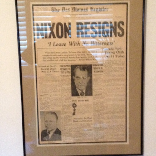 David Lewis' framed copy of the Register's front page.