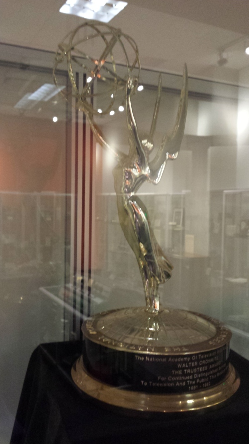 The Emmy award in the Cronkite Gallery at Arizona State University.
