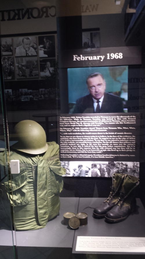 A display on Cronkite's coverage of Vietnam plays his famous broadcast commentary when he told the nation he was convinced we could not win the war.