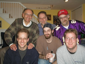Two generations of Buttry brothers gathered to watch the Super Bowl together in 2006.