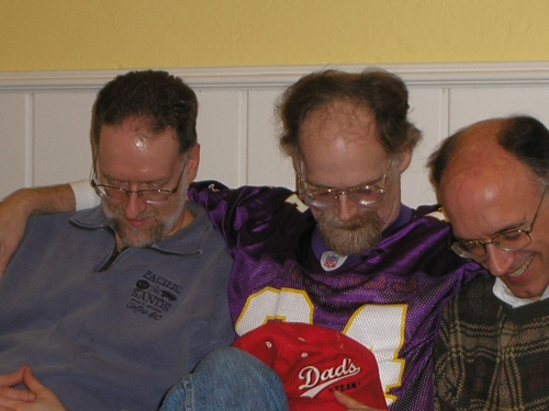 In 2006, my hairline was in retreat, but I still had more hair than Don, center, or Dan, right.