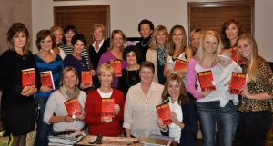 Mimi Johnson discussed her novel, Gathering String, with a book club in Dublin, Ohio.