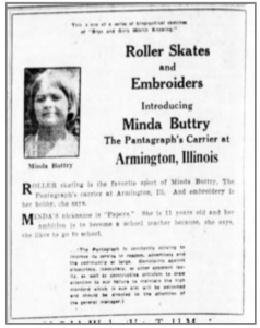 An ad in the Pantagraph, announcing Minda as the carrier in Armington.