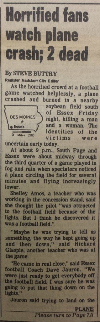 1981 story on Essex, Iowa, plane crash