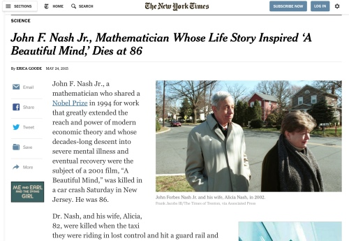 New York Times story on John Nash's death