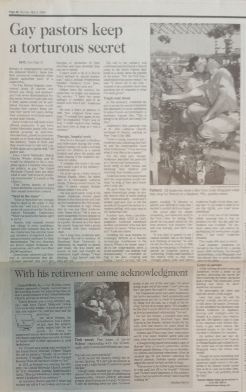 The photo of the couple kissing was inside the paper, with the jump of the story and a sidebar.