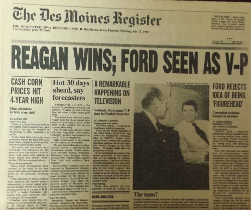 A Des Moines Register front page from 35 years ago. But we stopped the presses before any papers made it out of the building.