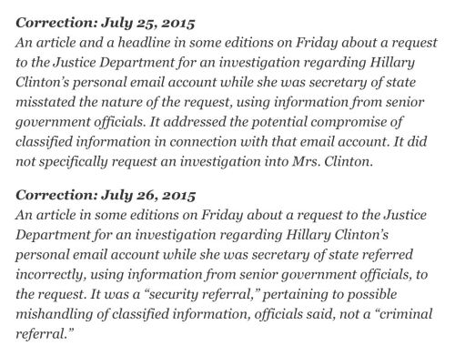Corrections on the New York Times' story on Hillary Clinton's emails.
