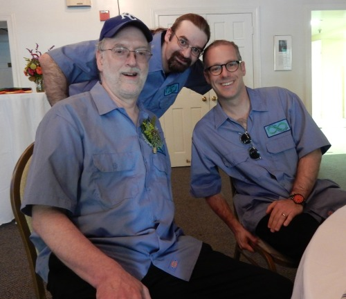 Mike, Joe and I show off our special wedding shirts. Photo by Dan Buttry