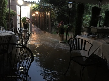 A river ran through the rehearsal dinner.
