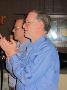Mike and me applauding at the rehearsal dinner.