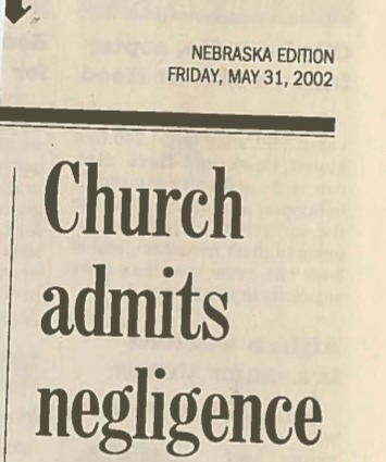 Church admits negligence